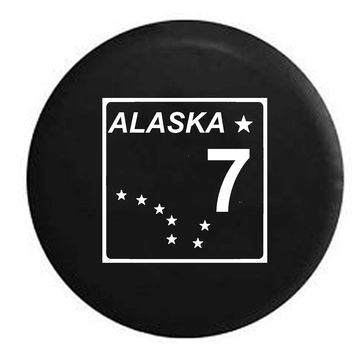 Alaska State Route Highway 7 Stars Scenic Route Sign RV Camper Jeep Spare Tire Cover