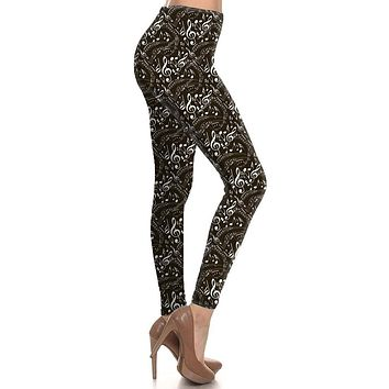 Musical Inspiration Graphic Print Lined Leggings