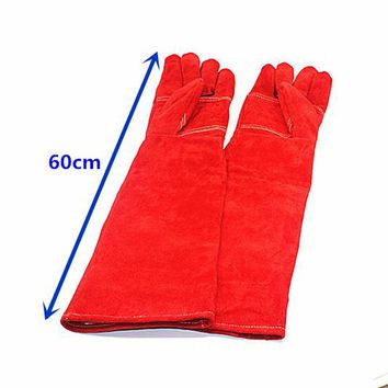 60cm Anti-bite safety protective gloves for Catch dog,cat,reptile,snake,animal Pets thick long leather red