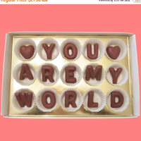 Anniversary Gift for Boyfriend Long Distance Boyfriend Gift  Anniversary Gift for Men Valentines I Love You Are My World Chocolate Letters