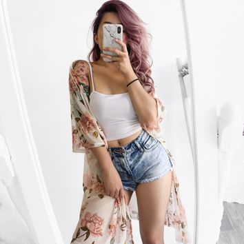 RESTOCKED! Melody Floral Mesh Kimono (IVORY) - FULLY STOCKED