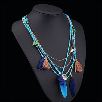 2019 Fashion Boho Multilayer Woven Long tassel Jewelry Multi-layer Chain Handmade Beaded Bohemian Feather Necklace #6