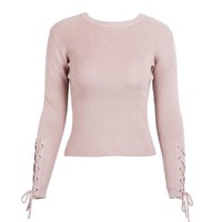 Casual Lace Up Sleeve Pullover Knitted Sweater Jumper O Neck Pullover Winter