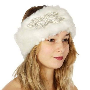 Faux Fur Head Warmer w Embellishment  in 3 Colors
