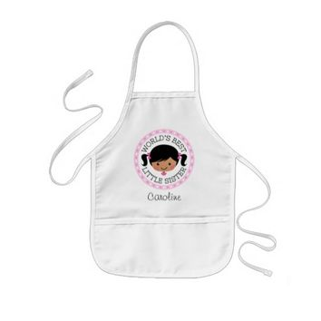 Worlds best little sister cartoon girl black hair kids' apron