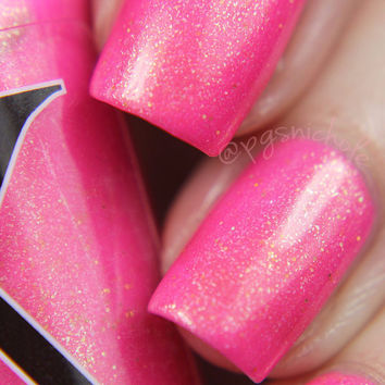 Go Through Fire - Neon Magenta Nail Polish with Gold Flakies
