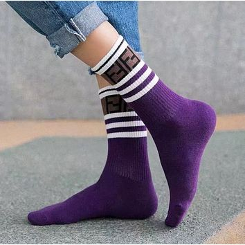 Fendi Style Fashion Short Socks for Double F Ladies