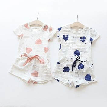 Casual Kids Clothing Baby Girls Clothes Sets Heart Printed Girl Tops Shirts + Shorts Suits Children's Clothing