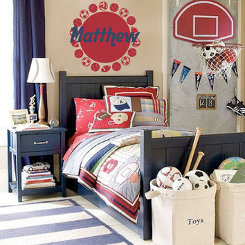 Personalized Sports Name Wall Decal - Football Basketball Baseball Soccer Volleyball Baby Boy Nursery Toddler Room Wall Art 22H x 22W BN019