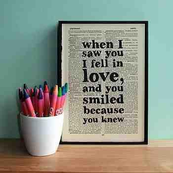 typographic love quote book art by wall envy art | notonthehighstreet.com