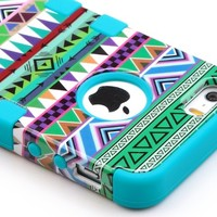 iPhone 5S Case, Pandamimi ULAK® Hybrid High Impact Tribal Soft TPU + Hard PC Case Cover for Apple iPhone 5S 5 5G with Screen Protector and Stylus (Pink + Blue)