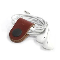 Brown Genuine Leather Earphone Organizer