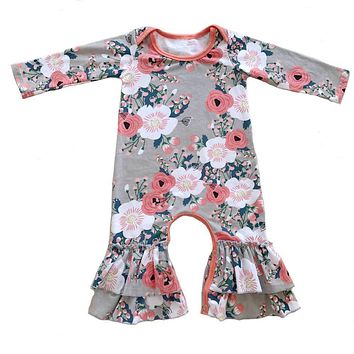New design Cotton floral Ruffle romper baby girl sleeper romper Hospital outfit ruffled night Gown baby Pajamas