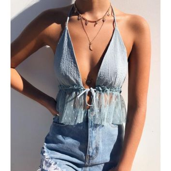 Top hanging neck front chest strap backless transparent gauze hem halter shirt women
