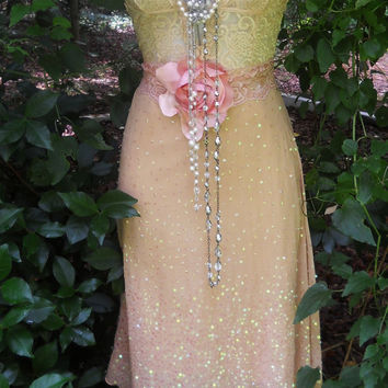Lace sequin dress beige nude tea stained by vintageopulence
