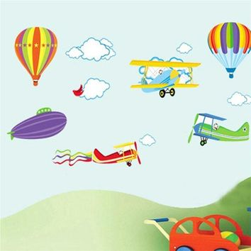 colorful cartoon Airplane Cloud Sky home decor for kids room decals wall stickers child nursery DIY decal sticker FREE SHIPPING