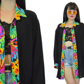 vintage 90s tropical duster jacket ultra draped floral print soft grunge VIVID slouchy jacket neon palm leaf colorful new wave 1990s large