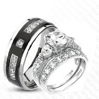 3 Pieces His & Hers Heart, 925 STERLING SILVER Rhodium Plated & TITANIUM Matching Engagement Wedding Bridal Ring Set.