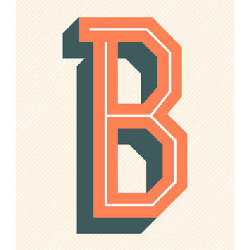 The Letter B, Original Art Print, 11x14, Typography, Alphabet, Orange, Blue Gray, Cream