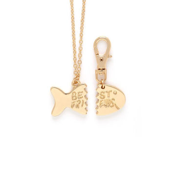 "CAMERON ROSE FOR CAT: GOLD FISH ""BEST FRIENDS"" CHARM NECKLACE AND COLLAR"