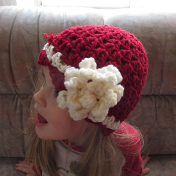 Crochet Toddler Hat, red offwhite Hat for Girls, Crochet Hat with Flower, Toddler Flower Hat, Baby Hat