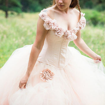 Fantasy Wedding Gown Fairy Blossum- Blush Tulle Skirt and Silk Flowers - Corset - Fairytale Masquerade Wedding Dress- Custom to Order