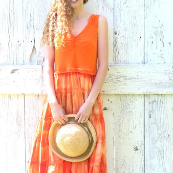Eco Friendly Orange Maxi Dress , M L Upcycled hippie boho chic dress , upcycled recycled repurposed , green clothing by wearlovenow