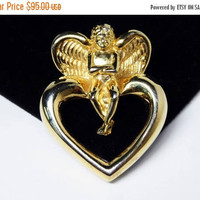 Givenchy Cherub Heart Brooch - Angel Setting on Open Centered Heart - Gold Tone Cupid Pin - Signed Givenchy - Vintage Valentines Day - 1980s