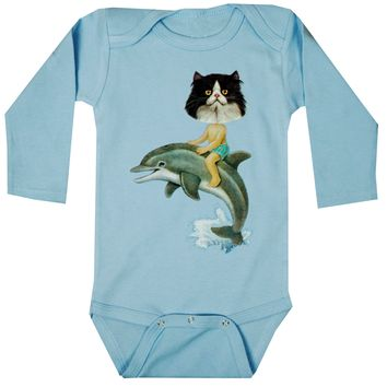 "Infant's ""Catboy & Dolphin"" Long Sleeve Onesuit by WOWCH (Blue)"