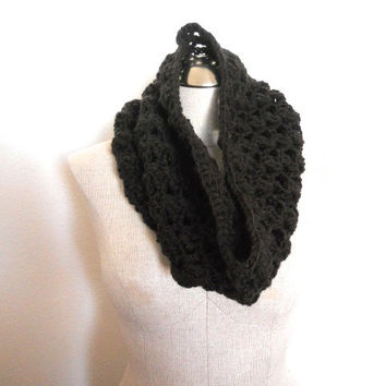 SALE ENDS OCTOBER 1st! Beautiful chocolate brown Hand crochet Cowl  neckwarmer Scarf, Infinity Scarf lace cowl in chocolate brown