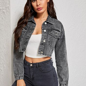 Pocket Patch Button Detail Crop Denim Jacket