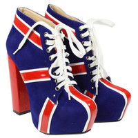 WOMENS LADIES UNION JACK FLAG CONCEALED PLATFORM BLOCK HEEL LACE SHOES BOOTS SIZ