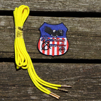 Neon Yellow Paracord Shoelaces/ Silver Aglet Tipped by American Anarchy Brand