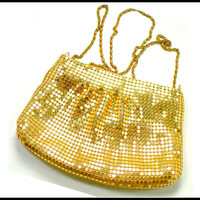Vintage Gold Mesh Purse, Cross Body Shoulder Strap, Evening Bag Clutch Pocketbook, Whiting Davis Style, Black Tie New Years Eve