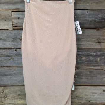 VELOUR PRINT PENCIL SKIRT - NUDE