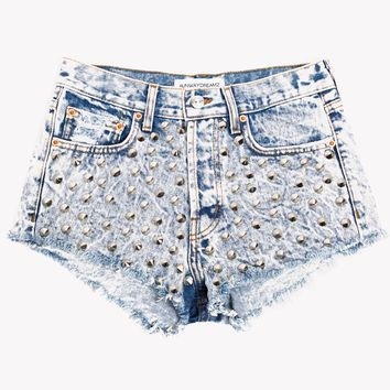 Spiked Acid Studded High Waist Shorts