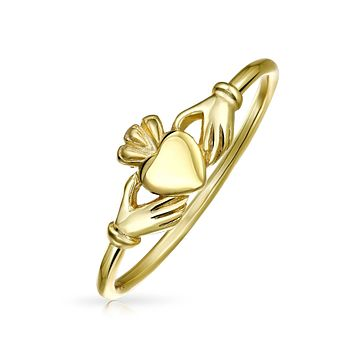 BFF Band Knuckle Claddagh Midi Ring 14K Gold Plate 925 Sterling Silver