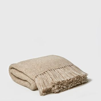 Alpaca Basketweave Throw - Oatmeal