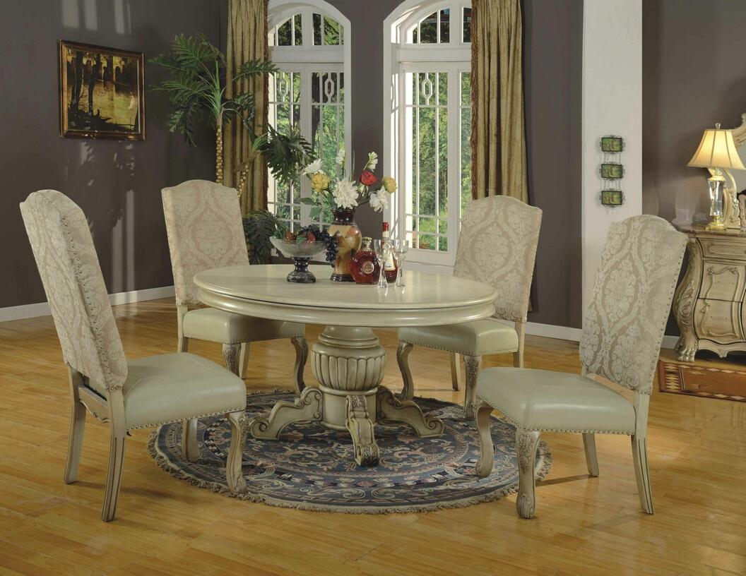 a m b furniture design dining room furniture dining table sets white wash finish 5 pc penelope ii collection antique white finish wood round pedestal dining table set with 2 tone fabric and faux leather upholstered chairs