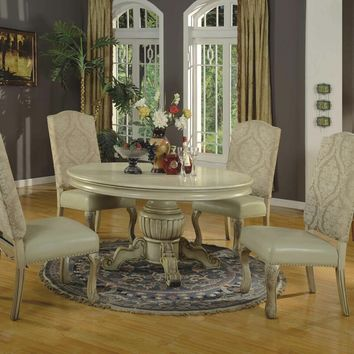A.M.B. Furniture & Design :: Dining room furniture :: Dining table sets :: White Wash Finish :: 5 pc Penelope II collection antique white finish wood round pedestal dining table set with 2 tone fabric and faux leather upholstered chairs