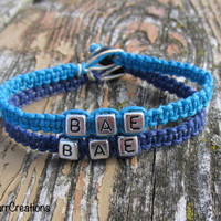 Bae, Before Anyone Else, Couples or Friendship Bracelets, Navy Blue and Turquoise Hemp Jewelry