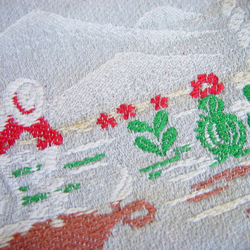 Vintage 50s Western Cowboy Cutter Bedspread Coverlet Gray Red Green Twin Size