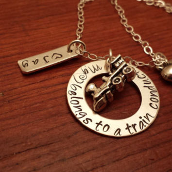 "Hand stamped personalized train worker necklace ""My (heart) belongs to a train conductor""-train wife jewelry-train jewelry"
