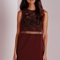 Missguided - Lace Mesh Panel Shift Dress Burgundy