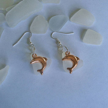 Dolphin earrings. Sea glass beach earrings. Sea glass jewelry.