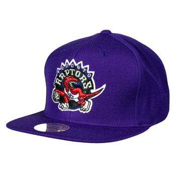 ONETOW Mitchell & Ness Toronto Raptors Wool Solid Snapback In Purple