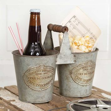 Rustic Galvanized  Metal 2 Bottle Double French Caddy