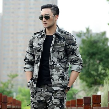 Men's Army Tactical Jacket Outdoor Camouflage Hunting Jacket Cotton Mens Military Combat Jacket Hiking Sports Men Bomber Jacket