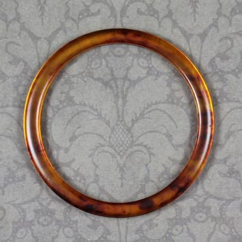 Vintage Faux Tortoise Yellow and Brown Bakelite Smooth Bangle Bracelet