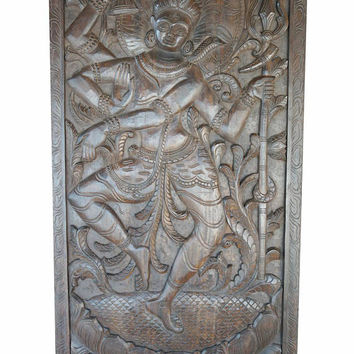 Lord Shiva Divine Dance Door Panel Hand Carved Wooden Barn Door , Powerful Energy Zen Decor